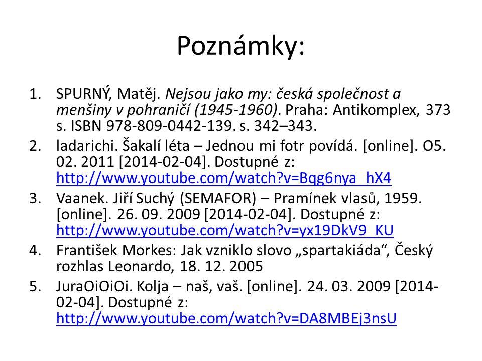 Poznámky: 1.SPURNÝ, Matěj. Nejsou jako my: česká společnost a menšiny v pohraničí (1945-1960). Praha: Antikomplex, 373 s. ISBN 978-809-0442-139. s. 34