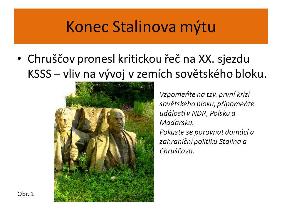 Konec Stalinova mýtu Chruščov pronesl kritickou řeč na XX. sjezdu KSSS – vliv na vývoj v zemích sovětského bloku. Obr. 1 Vzpomeňte na tzv. první krizi