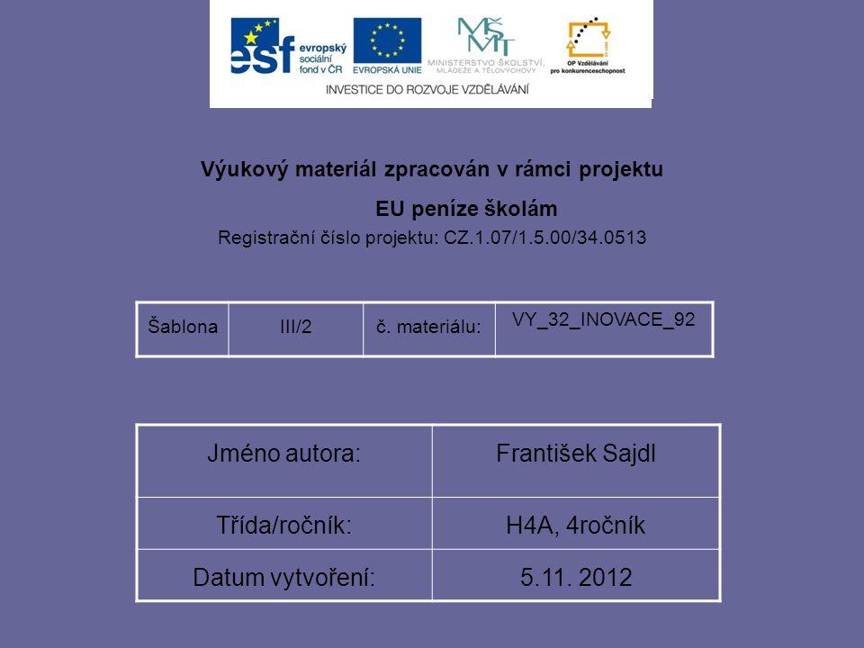 Výukový materiál zpracován v rámci projektu EU peníze školám Registrační číslo projektu: CZ.1.07/1.5.00/34.0513 ŠablonaIII/2č. materiálu: VY_32_INOVAC