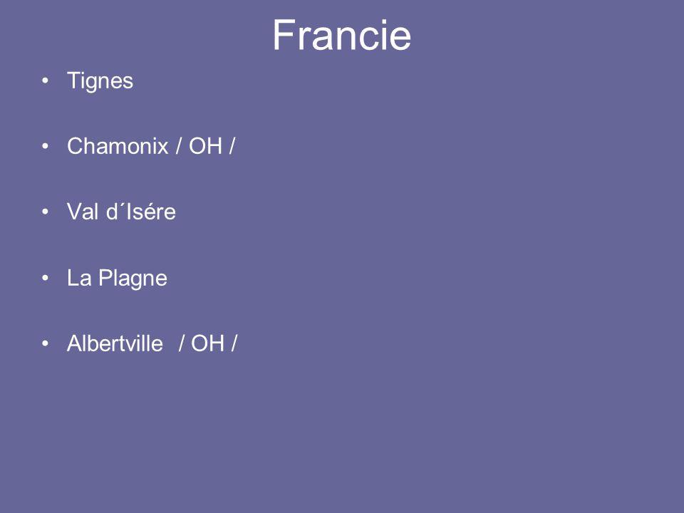 Francie Tignes Chamonix / OH / Val d´Isére La Plagne Albertville / OH /