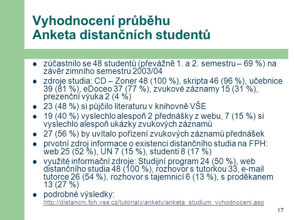 17 Vyhodnocení průběhu Anketa distančních studentů zúčastnilo se 48 studentů (převážně 1.