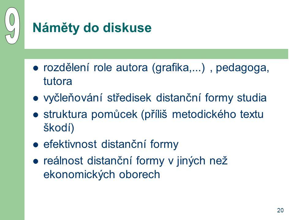 20 Náměty do diskuse rozdělení role autora (grafika,...), pedagoga, tutora vyčleňování středisek distanční formy studia struktura pomůcek (příliš metodického textu škodí) efektivnost distanční formy reálnost distanční formy v jiných než ekonomických oborech