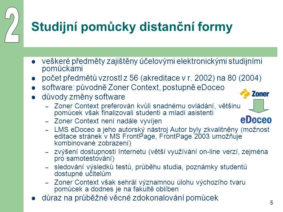 5 Studijní pomůcky distanční formy veškeré předměty zajištěny účelovými elektronickými studijními pomůckami počet předmětů vzrostl z 56 (akreditace v r.