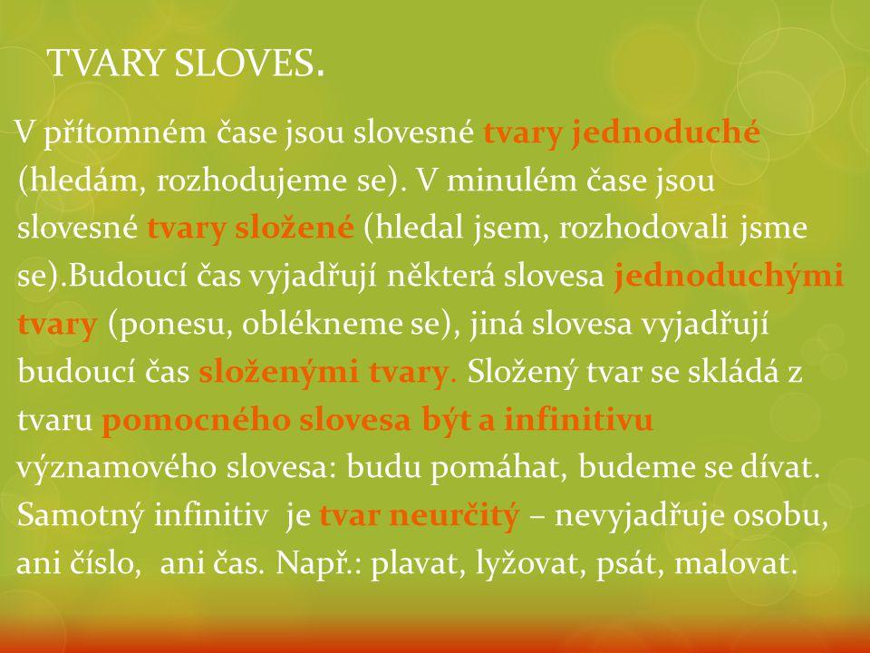 TVARY SLOVES. V přítomném čase jsou slovesné tvary jednoduché (hledám, rozhodujeme se).