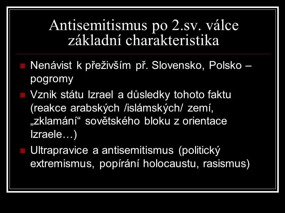Odhadované ztráty Židů během holocaustu Antisemitismus po 2.sv. válce základní charakteristika Nenávist k přeživším př. Slovensko, Polsko – pogromy Vz