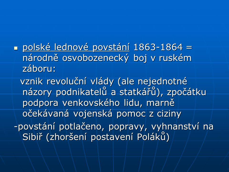 polské lednové povstání 1863-1864 = národně osvobozenecký boj v ruském záboru: polské lednové povstání 1863-1864 = národně osvobozenecký boj v ruském záboru: vznik revoluční vlády (ale nejednotné názory podnikatelů a statkářů), zpočátku podpora venkovského lidu, marně očekávaná vojenská pomoc z ciziny vznik revoluční vlády (ale nejednotné názory podnikatelů a statkářů), zpočátku podpora venkovského lidu, marně očekávaná vojenská pomoc z ciziny -povstání potlačeno, popravy, vyhnanství na Sibiř (zhoršení postavení Poláků)
