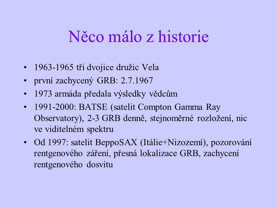 Něco málo z historie 1963-1965 tři dvojice družic Vela první zachycený GRB: 2.7.1967 1973 armáda předala výsledky vědcům 1991-2000: BATSE (satelit Compton Gamma Ray Observatory), 2-3 GRB denně, stejnoměrné rozložení, nic ve viditelném spektru Od 1997: satelit BeppoSAX (Itálie+Nizozemí), pozorování rentgenového záření, přesná lokalizace GRB, zachycení rentgenového dosvitu
