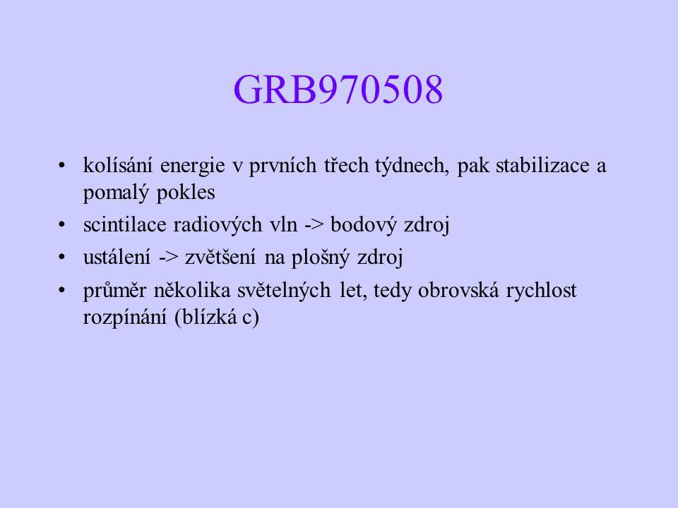 GRB970508 kolísání energie v prvních třech týdnech, pak stabilizace a pomalý pokles scintilace radiových vln -> bodový zdroj ustálení -> zvětšení na plošný zdroj průměr několika světelných let, tedy obrovská rychlost rozpínání (blízká c)