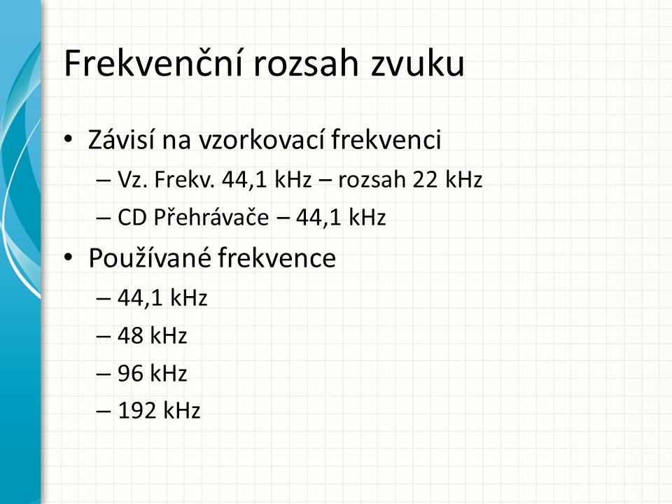 Frekvenční rozsah zvuku Závisí na vzorkovací frekvenci – Vz. Frekv. 44,1 kHz – rozsah 22 kHz – CD Přehrávače – 44,1 kHz Používané frekvence – 44,1 kHz