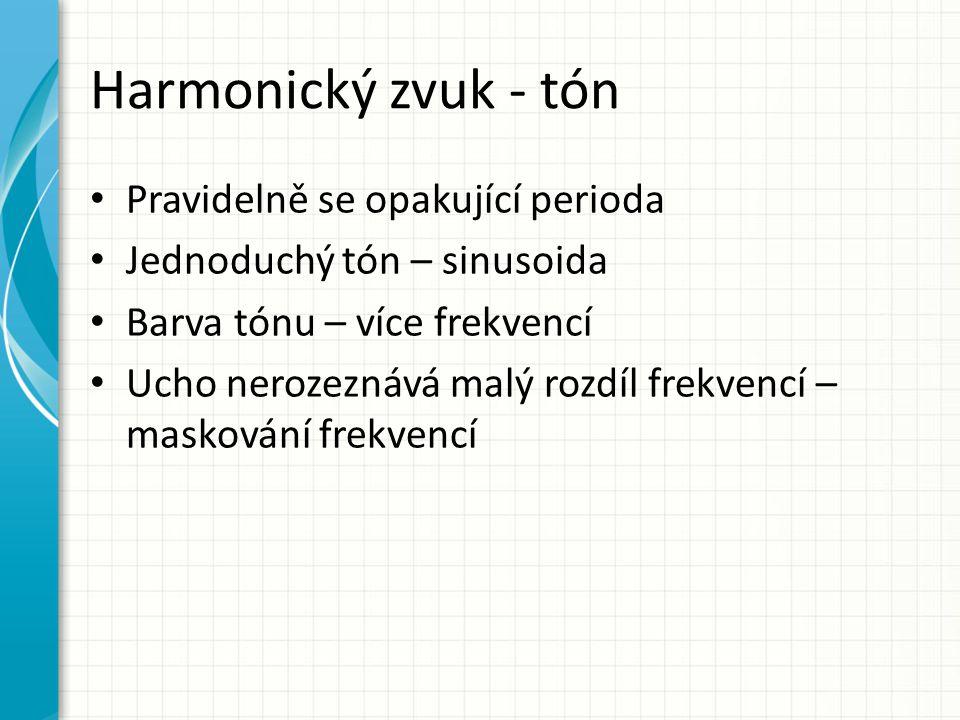Harmonický zvuk - tón Pravidelně se opakující perioda Jednoduchý tón – sinusoida Barva tónu – více frekvencí Ucho nerozeznává malý rozdíl frekvencí –