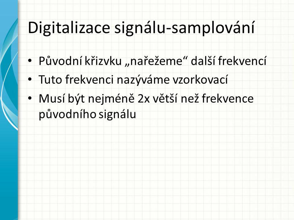 """Digitalizace signálu-samplování Původní křizvku """"nařežeme"""" další frekvencí Tuto frekvenci nazýváme vzorkovací Musí být nejméně 2x větší než frekvence"""