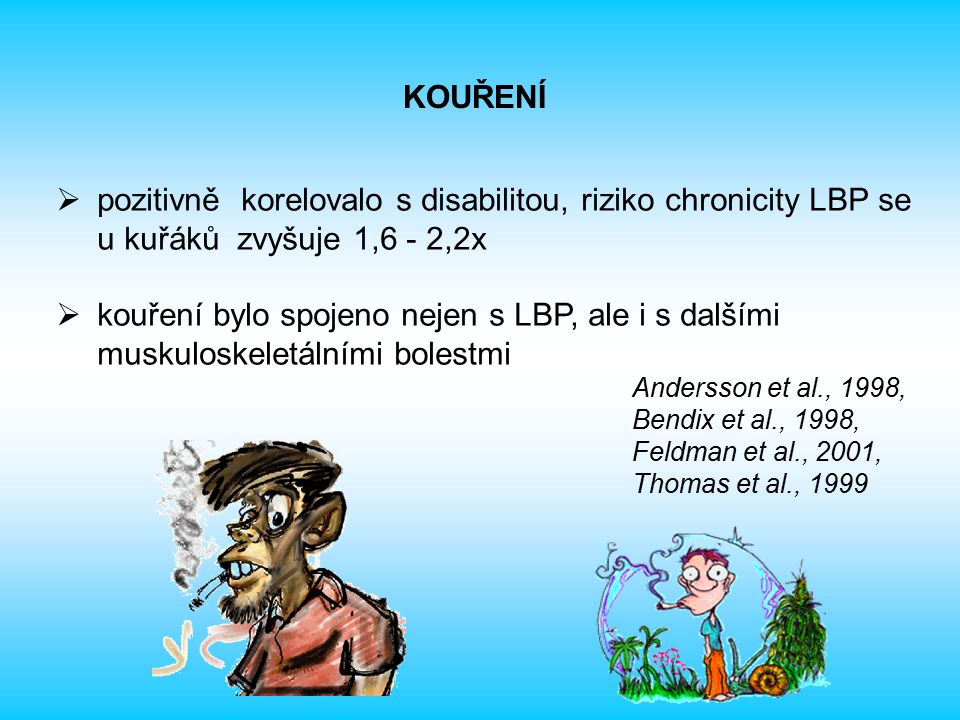  pozitivně korelovalo s disabilitou, riziko chronicity LBP se u kuřáků zvyšuje 1,6 - 2,2x  kouření bylo spojeno nejen s LBP, ale i s dalšími muskulo