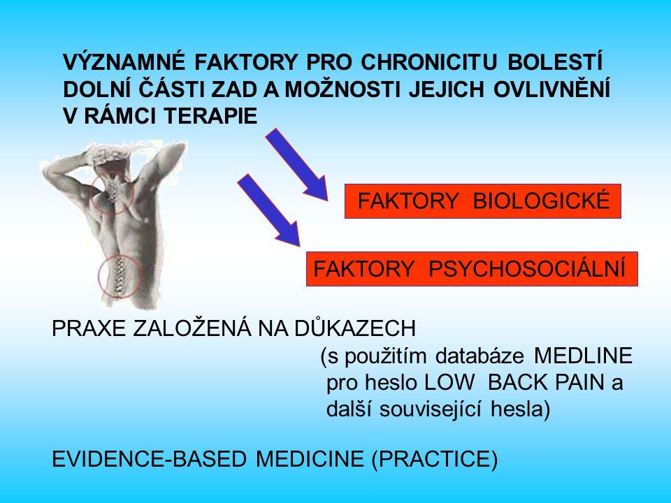  pozitivní korelace s chronicitou LBP, obezita zvýšila riziko chronicity LBP 1,7x Bayramoglu et al., 2001, Fransen et al., 2002, Leboeuf-Yde et al., 1999  hmotnost a výška nejsou spojeny s chronicitou u LBP Valat et al., 1997 HMOTNOST A ZVÝŠENÍ BODY MASS INDEXU