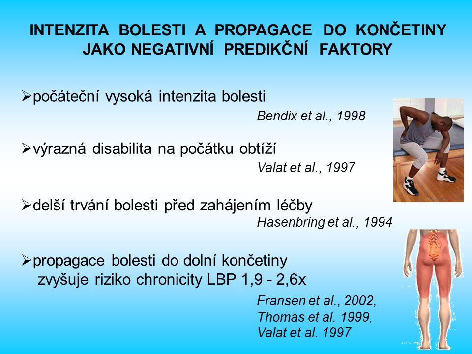 INTENZITA BOLESTI A PROPAGACE DO KONČETINY JAKO NEGATIVNÍ PREDIKČNÍ FAKTORY  počáteční vysoká intenzita bolesti Bendix et al., 1998  výrazná disabilita na počátku obtíží Valat et al., 1997  delší trvání bolesti před zahájením léčby Hasenbring et al., 1994  propagace bolesti do dolní končetiny zvyšuje riziko chronicity LBP 1,9 - 2,6x Fransen et al., 2002, Thomas et al.