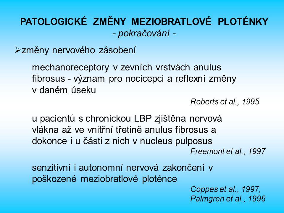 PATOLOGICKÉ ZMĚNY MEZIOBRATLOVÉ PLOTÉNKY - pokračování -  změny nervového zásobení mechanoreceptory v zevních vrstvách anulus fibrosus - význam pro n
