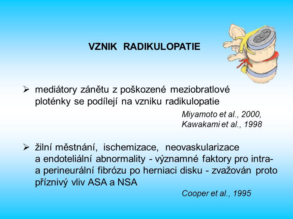  mediátory zánětu z poškozené meziobratlové ploténky se podílejí na vzniku radikulopatie Miyamoto et al., 2000, Kawakami et al., 1998  žilní městnání, ischemizace, neovaskularizace a endoteliální abnormality - významné faktory pro intra- a perineurální fibrózu po herniaci disku - zvažován proto příznivý vliv ASA a NSA Cooper et al., 1995 VZNIK RADIKULOPATIE