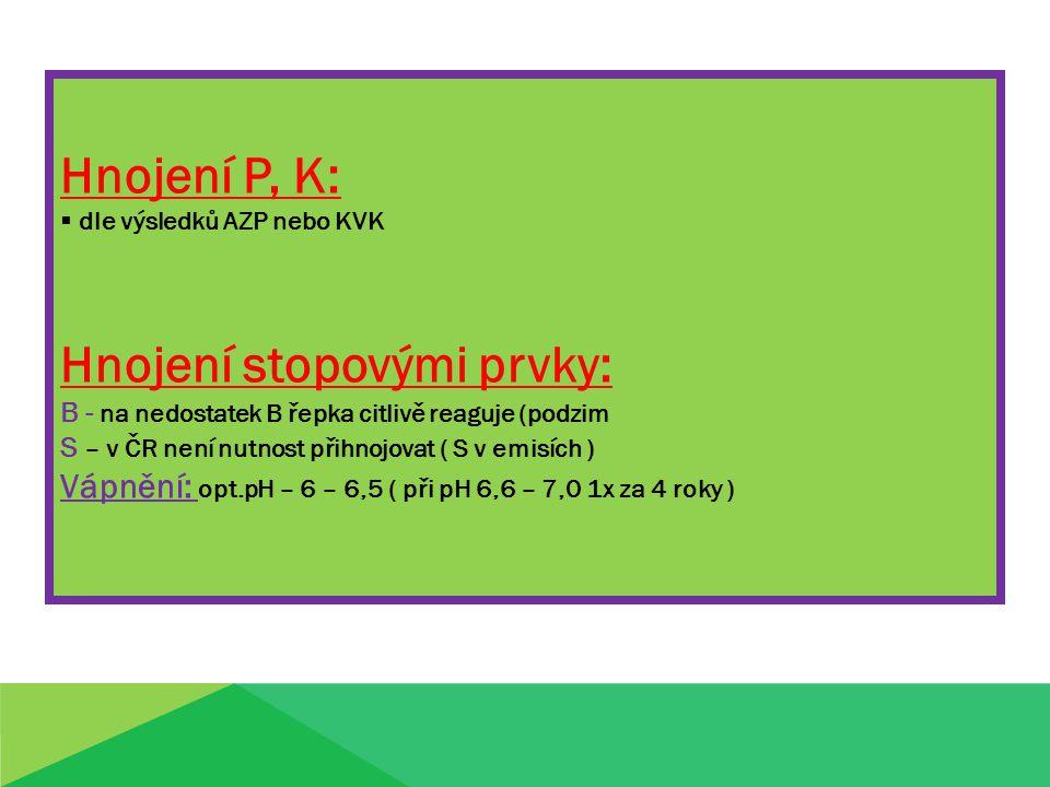 Hnojení P, K:  dle výsledků AZP nebo KVK Hnojení stopovými prvky: B - na nedostatek B řepka citlivě reaguje (podzim S – v ČR není nutnost přihnojovat ( S v emisích ) Vápnění: opt.pH – 6 – 6,5 ( při pH 6,6 – 7,0 1x za 4 roky )