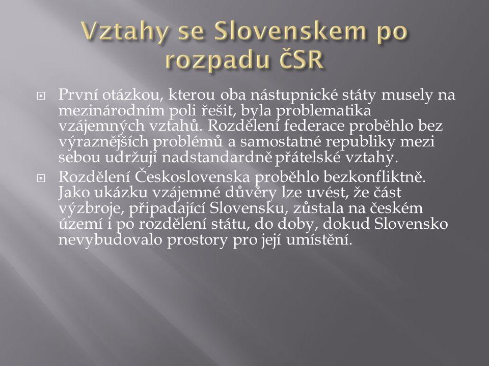 Zahrani č ní reakce na rozd ě lení Č eskoslovenska - Rozdělení Československa bylo v zahraničí bylo považováno spíše za negativum.