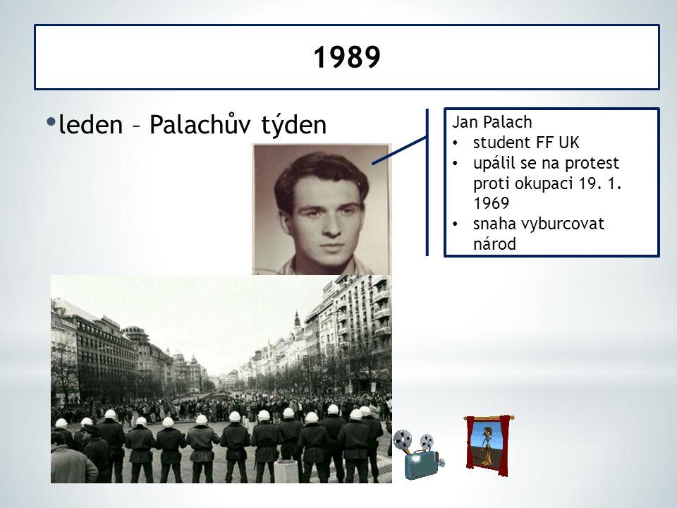 leden – Palachův týden 1989 Jan Palach student FF UK upálil se na protest proti okupaci 19. 1. 1969 snaha vyburcovat národ