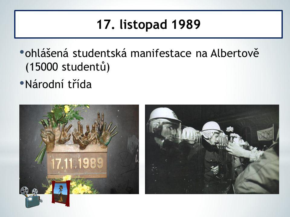 ohlášená studentská manifestace na Albertově (15000 studentů) Národní třída 17. listopad 1989