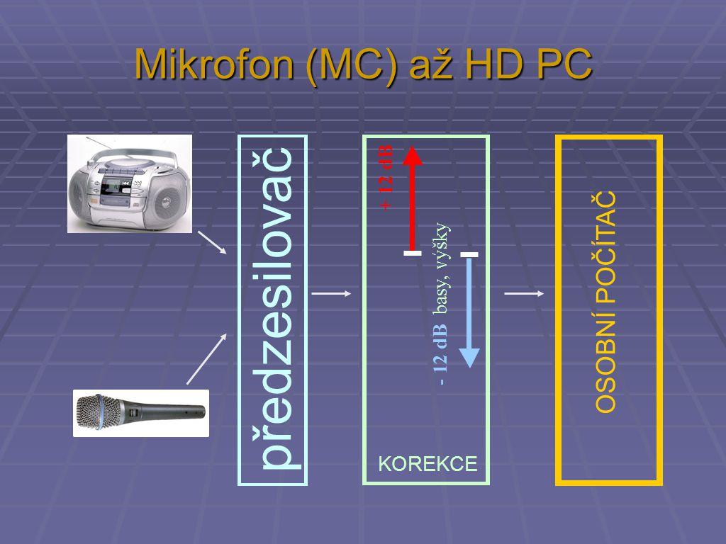 Mikrofon (MC) až HD PC předzesilovač KOREKCE + 12 dB - 12 dB basy, výšky OSOBNÍ POČÍTAČ