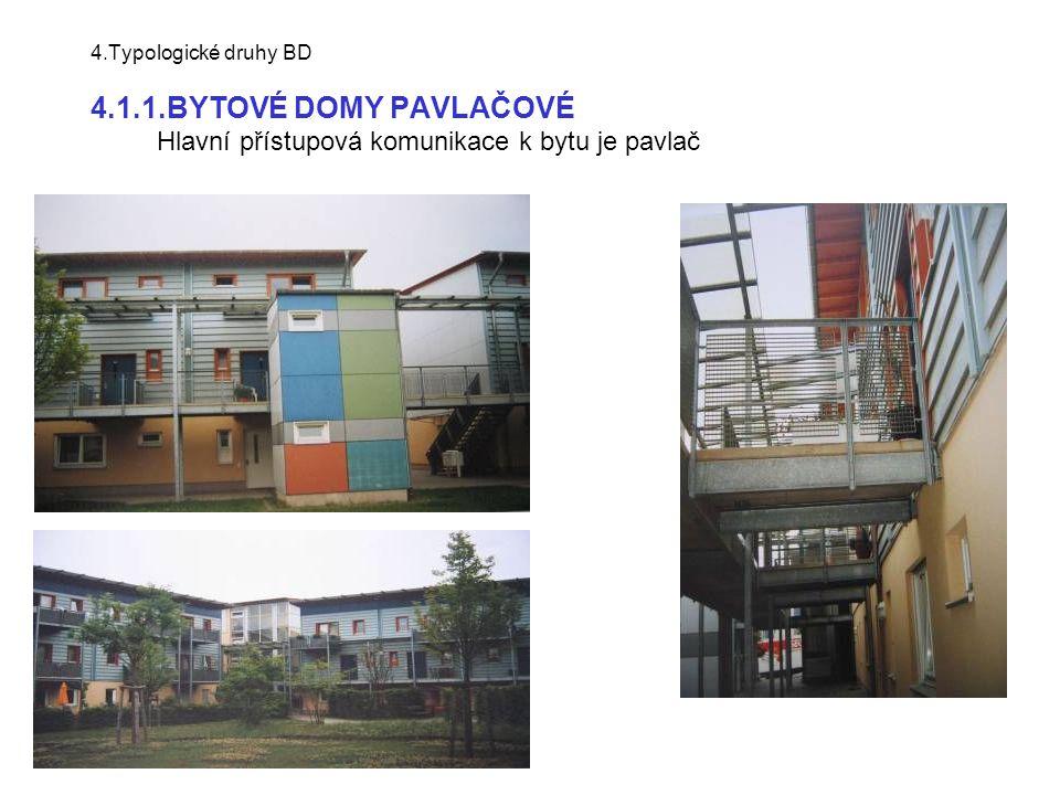4.Typologické druhy BD 4.1.1.BYTOVÉ DOMY PAVLAČOVÉ Hlavní přístupová komunikace k bytu je pavlač