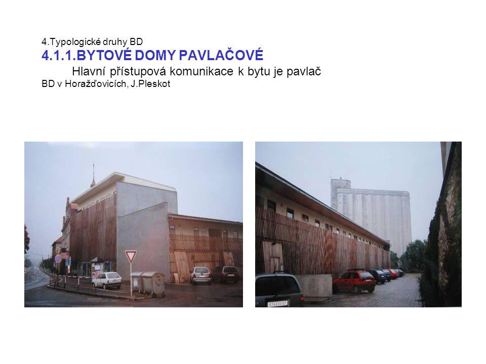 4.Typologické druhy BD 4.1.1.BYTOVÉ DOMY CHODBOVÉ Hlavní přístupová komunikace k bytu je pavlač konverze textilní továrny Moravan na BD v Zábrdovicích