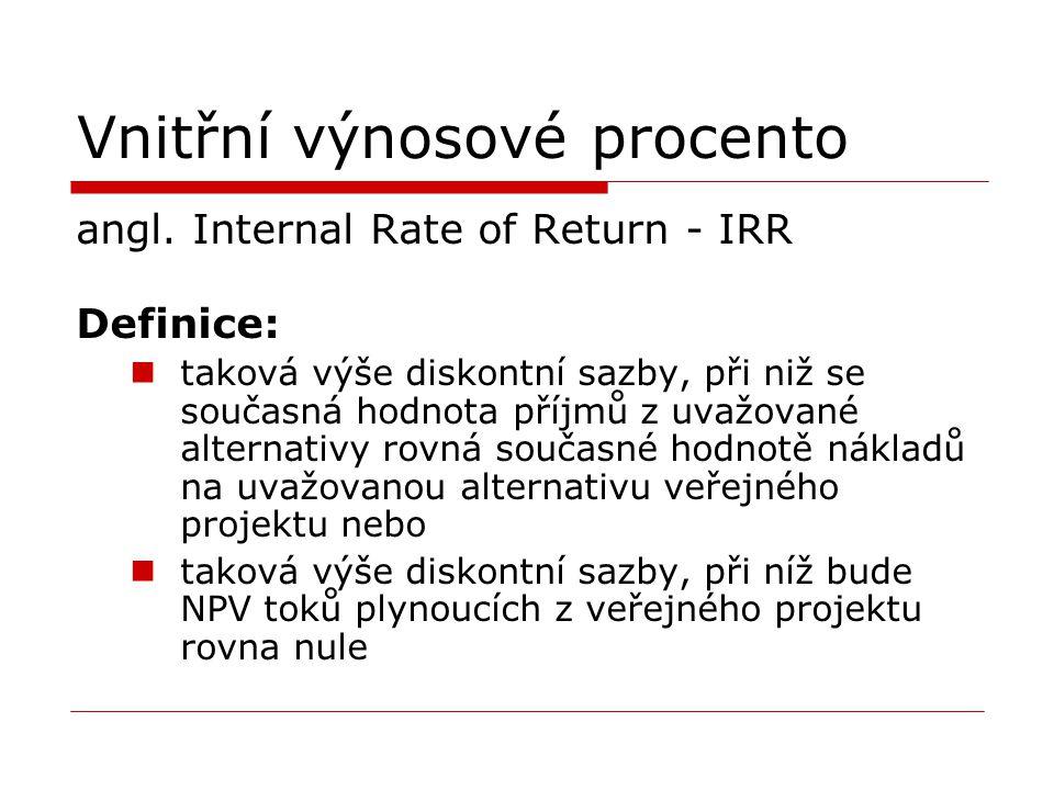 Vnitřní výnosové procento angl. Internal Rate of Return - IRR Definice: taková výše diskontní sazby, při niž se současná hodnota příjmů z uvažované al