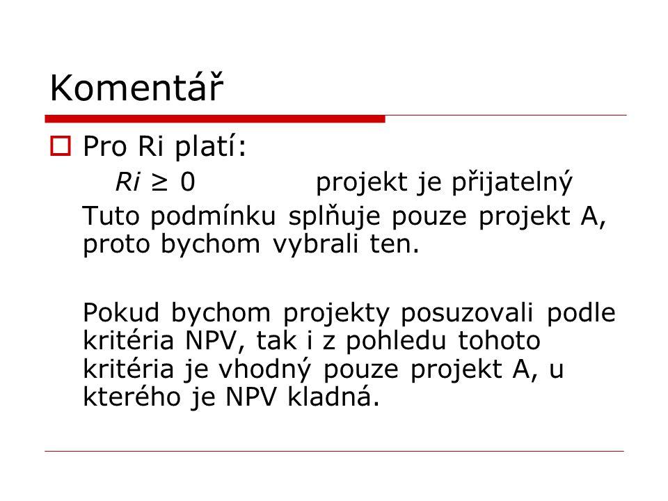 Komentář  Pro Ri platí: Ri ≥ 0projekt je přijatelný Tuto podmínku splňuje pouze projekt A, proto bychom vybrali ten. Pokud bychom projekty posuzovali