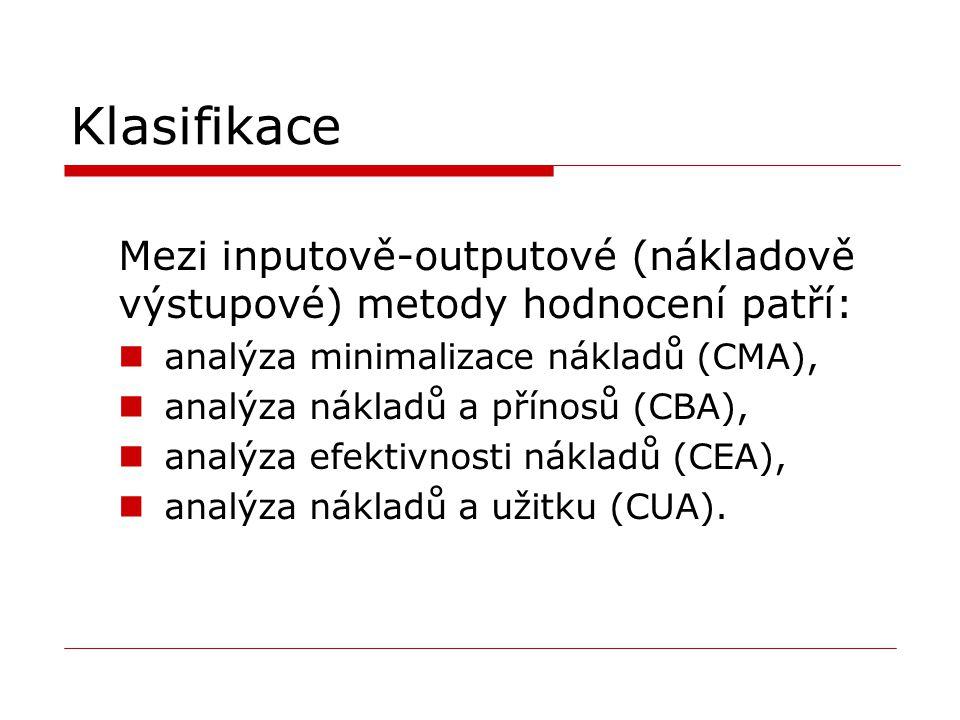 Klasifikace Mezi inputově-outputové (nákladově výstupové) metody hodnocení patří: analýza minimalizace nákladů (CMA), analýza nákladů a přínosů (CBA),