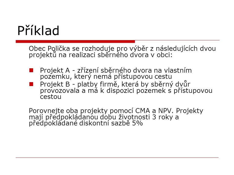 Příklad Obec Polička se rozhoduje pro výběr z následujících dvou projektů na realizaci sběrného dvora v obci: Projekt A - zřízení sběrného dvora na vl