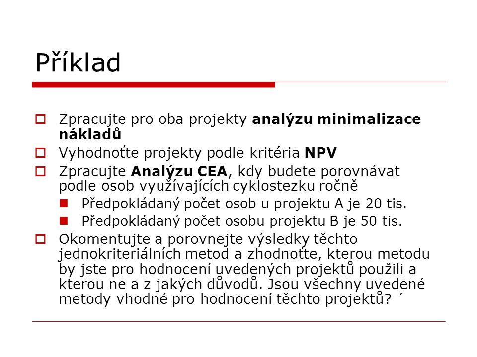 Příklad  Zpracujte pro oba projekty analýzu minimalizace nákladů  Vyhodnoťte projekty podle kritéria NPV  Zpracujte Analýzu CEA, kdy budete porovná