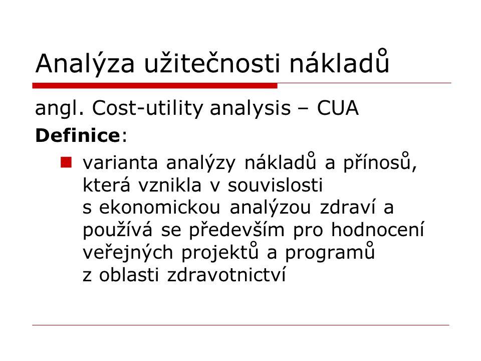 Analýza užitečnosti nákladů angl. Cost-utility analysis – CUA Definice: varianta analýzy nákladů a přínosů, která vznikla v souvislosti s ekonomickou
