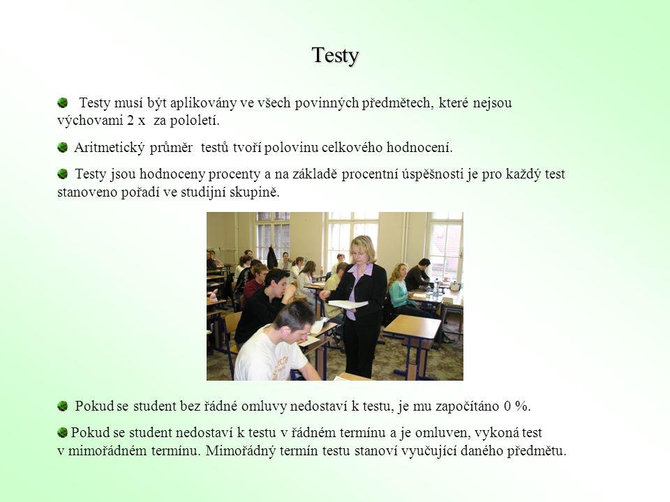 Testy musí být aplikovány ve všech povinných předmětech, které nejsou výchovami 2 x za pololetí. Aritmetický průměr testů tvoří polovinu celkového hod