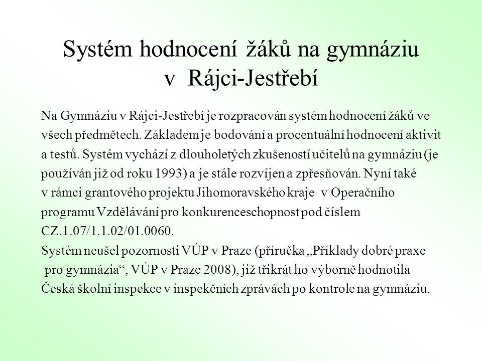 Systém hodnocení žáků na gymnáziu v Rájci-Jestřebí Na Gymnáziu v Rájci-Jestřebí je rozpracován systém hodnocení žáků ve všech předmětech. Základem je