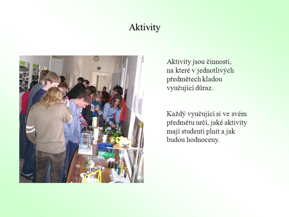 Aktivity Aktivity jsou činnosti, na které v jednotlivých předmětech kladou vyučující důraz. Každý vyučující si ve svém předmětu určí, jaké aktivity ma