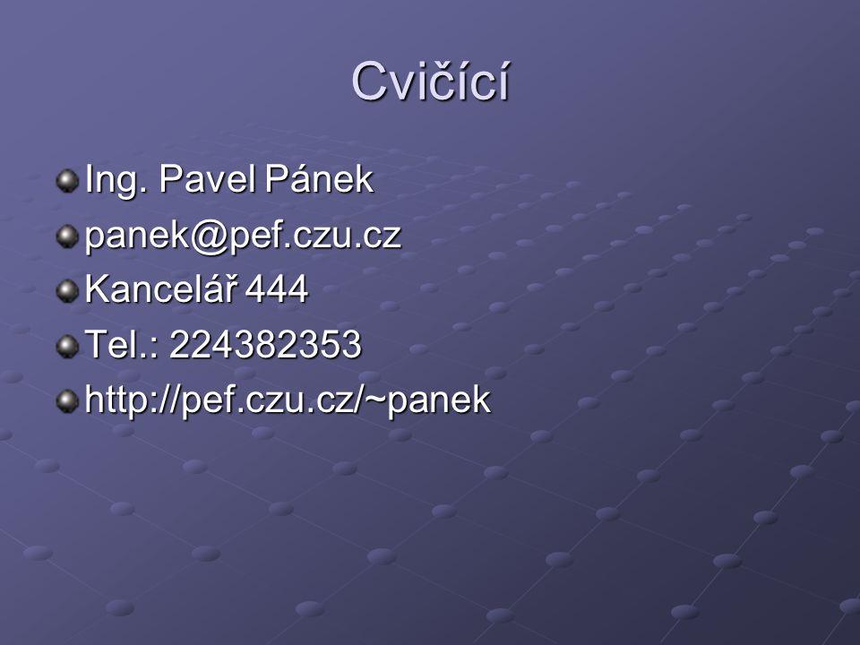 Cvičící Ing. Pavel Pánek panek@pef.czu.cz Kancelář 444 Tel.: 224382353 http://pef.czu.cz/~panek