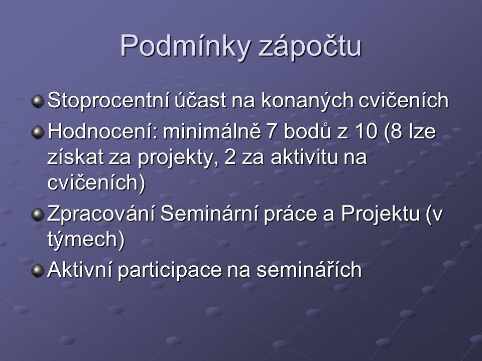 Podmínky zápočtu Stoprocentní účast na konaných cvičeních Hodnocení: minimálně 7 bodů z 10 (8 lze získat za projekty, 2 za aktivitu na cvičeních) Zpra