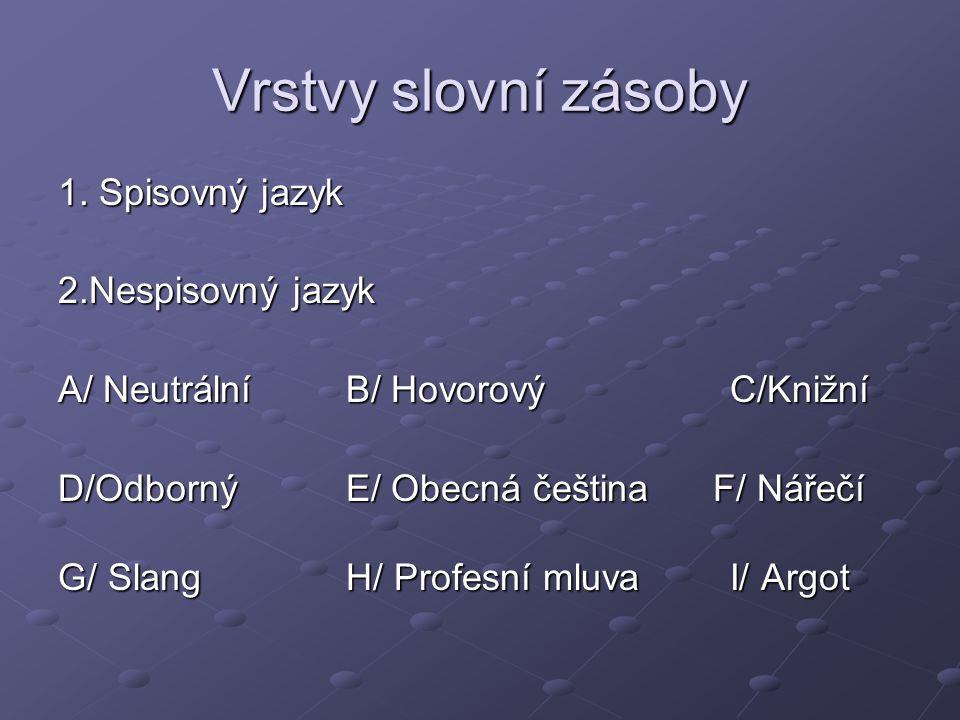 Úkol Přiřaďte následující texty výňatků uvedeným vrstvám slovní zásoby.