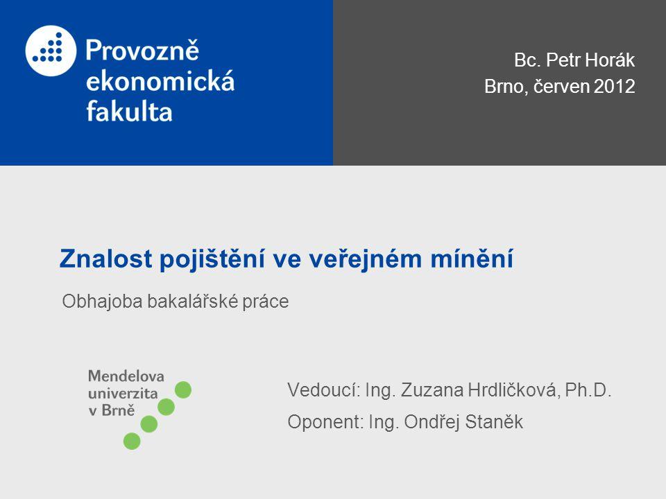 Znalost pojištění ve veřejném mínění Bc. Petr Horák Brno, červen 2012 Vedoucí: Ing.