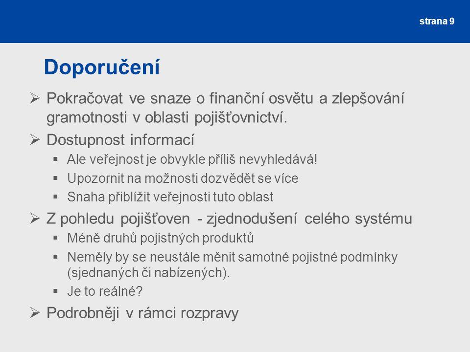 Doporučení  Pokračovat ve snaze o finanční osvětu a zlepšování gramotnosti v oblasti pojišťovnictví.