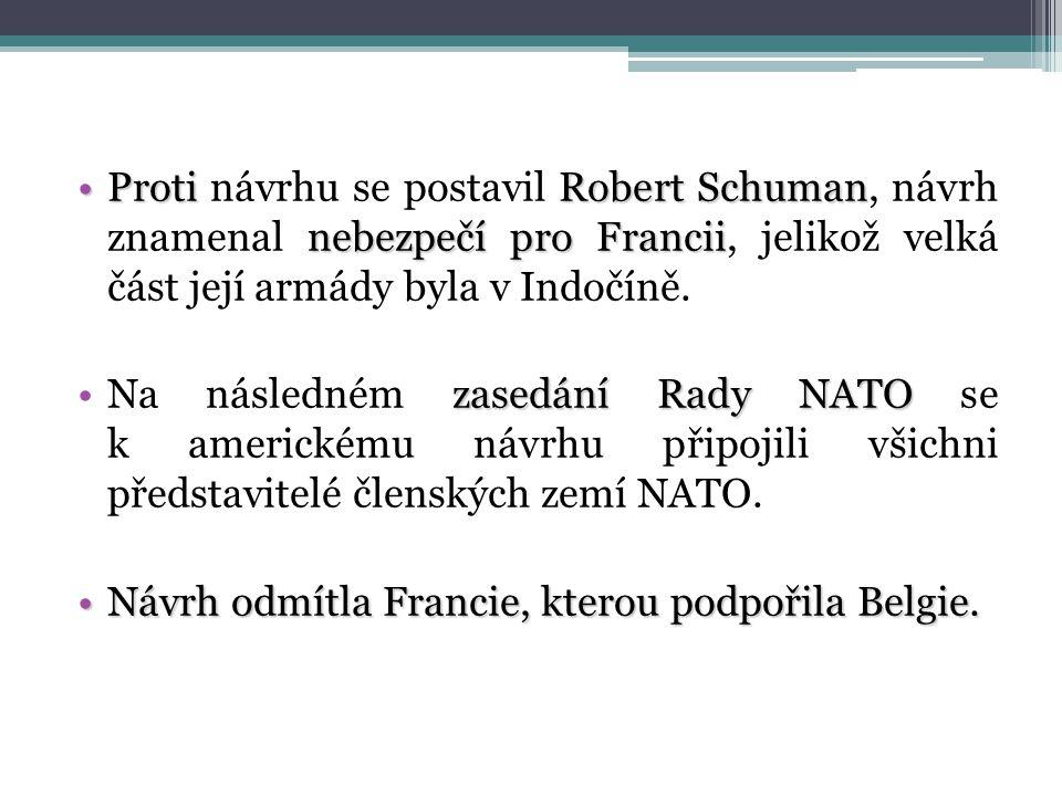 Plevenův plán evropské armády Francouzská vláda se pokusila řešit postavení Německa předložením vlastního evropského řešení na podnět Roberta Schumana Monnet předal návrh plánu na Evropskou armádu premiérovi Renému Plevenovi, který jej přednesl před Národním shromážděním 24.