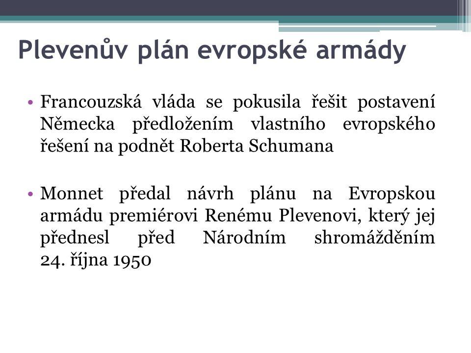 Plevenův Plán - 1950 budování Evropy musí pokračovat metodou integrace po odvětvíchPřipomněl, že budování Evropy musí pokračovat metodou integrace po odvětvích Chtěl vytvořit evropskou armádu a sjednotit její vedení do jednoho centraChtěl vytvořit evropskou armádu a sjednotit její vedení do jednoho centra (Evropské ministerstvo obrany) projekt řešící evropské bezpečnostní potřebyFrancie považovala Plevenův plán za projekt řešící evropské bezpečnostní potřeby podkladem pro založení Evropského obranného společenstvíPozději se stal podkladem pro založení Evropského obranného společenství