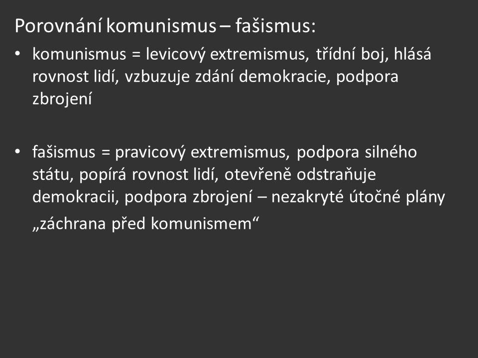 Porovnání komunismus – fašismus: komunismus = levicový extremismus, třídní boj, hlásá rovnost lidí, vzbuzuje zdání demokracie, podpora zbrojení fašism