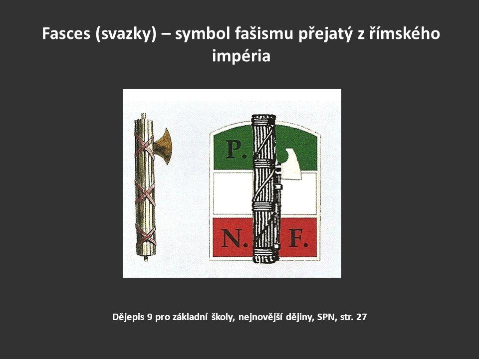 Fasces (svazky) – symbol fašismu přejatý z římského impéria Dějepis 9 pro základní školy, nejnovější dějiny, SPN, str. 27