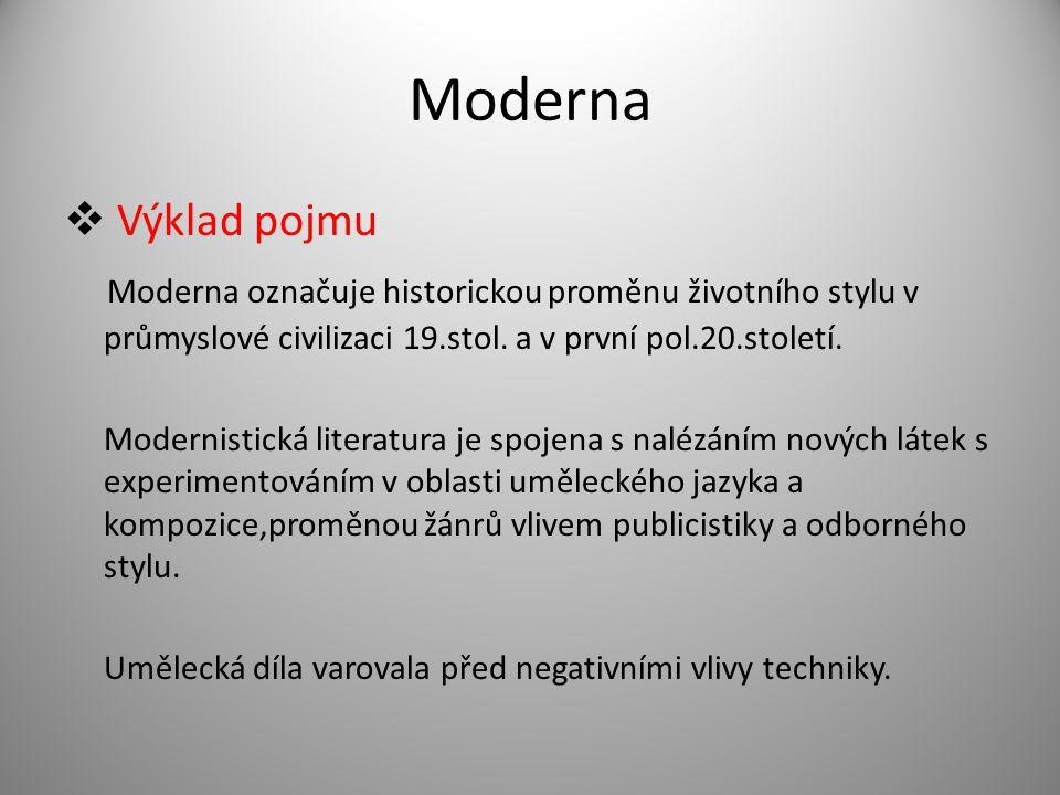 Moderna  Výklad pojmu Moderna označuje historickou proměnu životního stylu v průmyslové civilizaci 19.stol. a v první pol.20.století. Modernistická l