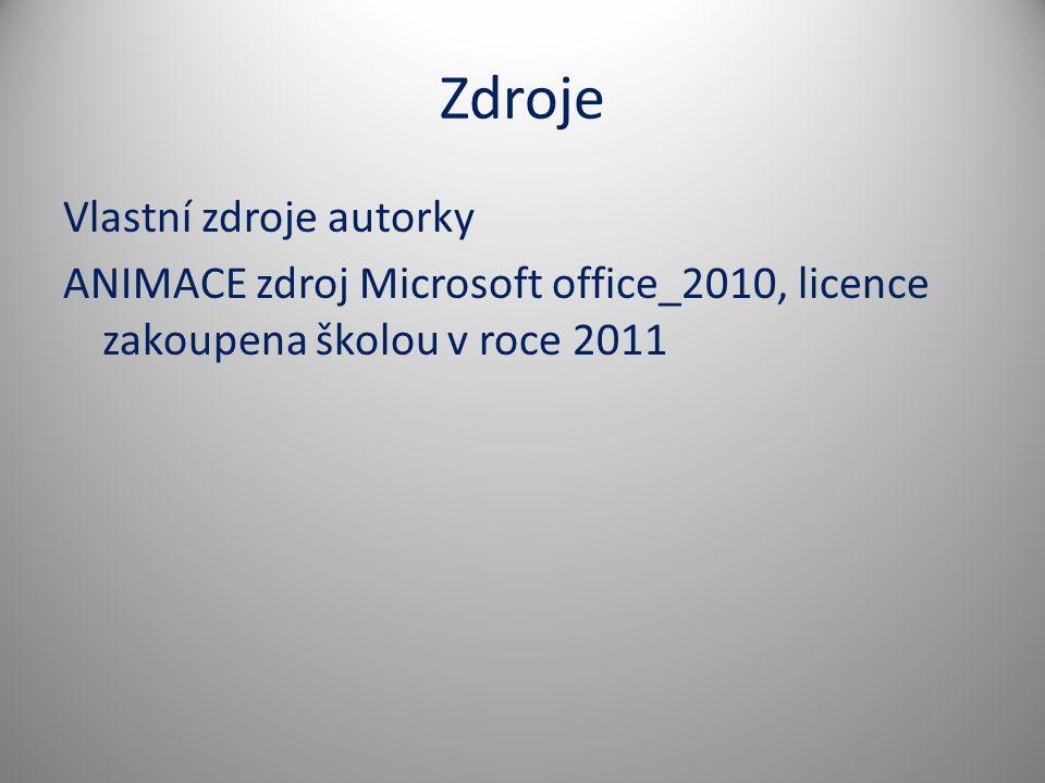 Zdroje Vlastní zdroje autorky ANIMACE zdroj Microsoft office_2010, licence zakoupena školou v roce 2011