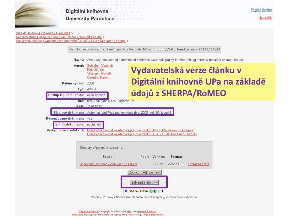Vydavatelská verze článku v Digitální knihovně UPa na základě údajů z SHERPA/RoMEO