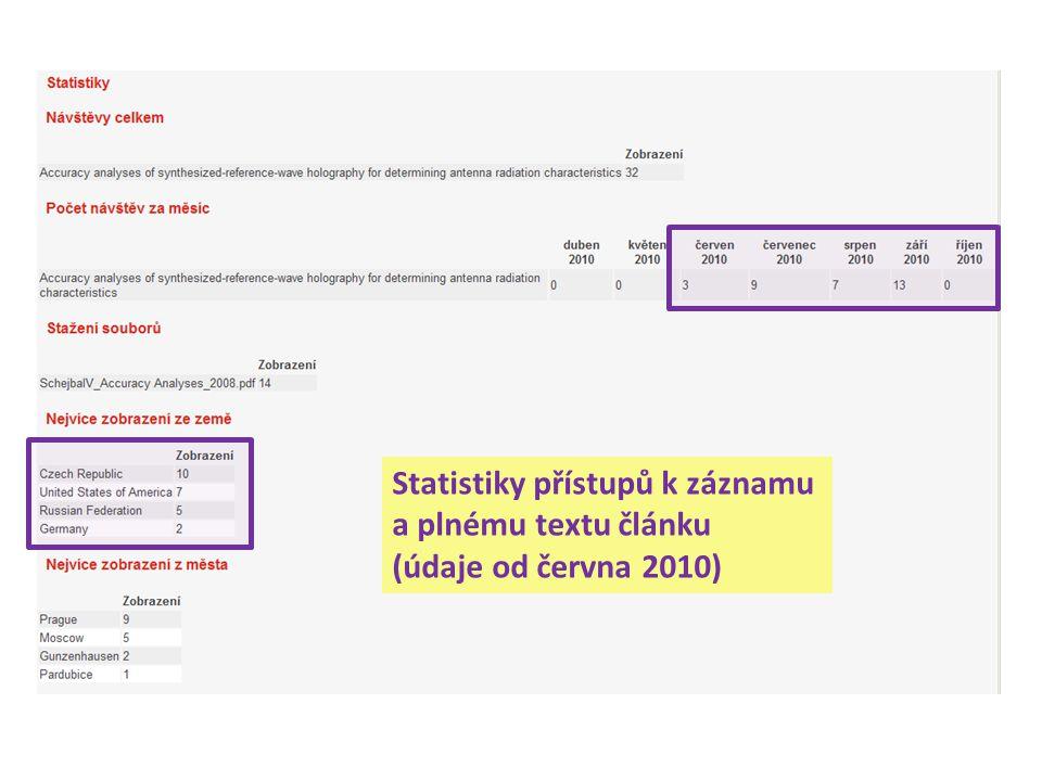 Statistiky přístupů k záznamu a plnému textu článku (údaje od června 2010)