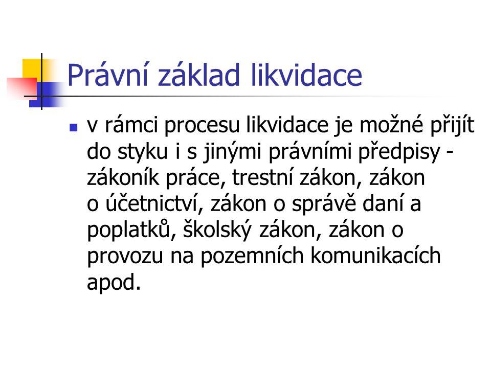 Právní základ likvidace v rámci procesu likvidace je možné přijít do styku i s jinými právními předpisy - zákoník práce, trestní zákon, zákon o účetni